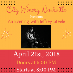 Jeffrey Steele at City Winery (Sold Out)